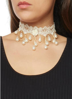Fringed Beaded Crochet Choker Necklace - 1138072695875