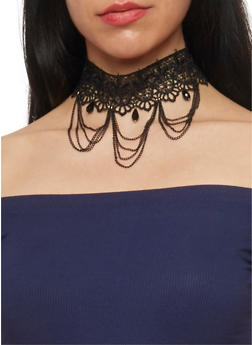 Tear Drop and Chain Fringe Crochet Choker - 1138072695895
