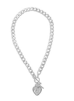 Curb Chain Rhinestone Heart Charm Necklace - 1138072695901
