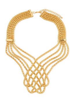 Multi Layered Mesh Woven Necklace - 1138072695942