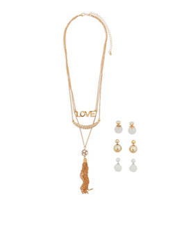 Layered Charm Necklace with 3 Reversible Earrings - 1138072696040