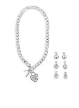 Toggle Charm Necklace with Set of 3 Reversible Earrings - 1138072696065