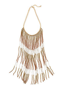 Beaded Fringe Chain Necklace - 1138073280112