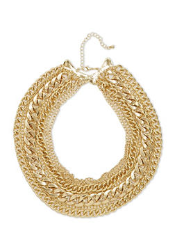 Large Multi Layered Chain Link Choker Necklace - 1138073280744