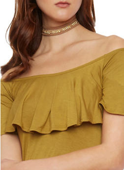 Faux Suede Wrap Choker with Rhinestone Leaf Chain - 1138073283281