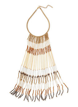 Beaded Fringe Necklace - 1138073284322
