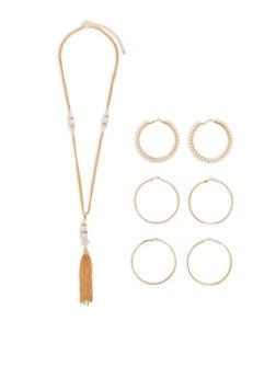 Tassel Necklace with Set of 3 Large Hoop Earrings - 1138073846067