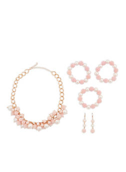 Beaded Faux Pearl Necklace with Stretch Bracelets and Earrings - 1138074140125