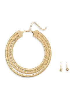Layered Flat Collar Necklace and Earrings - 1138074140525
