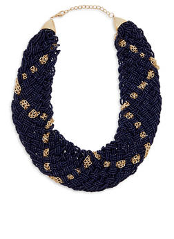 Beaded Bib Necklace with Metallic Chain Detail - 1138074140650