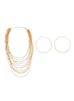 Metallic Beaded Layered Necklace and Hoop Earrings - 1138074140955