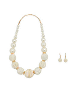 Large Faux Pearl Beaded Necklace with Earrings Set - 1138074141034