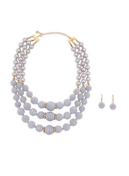 Layered Faux Pearl Beaded Necklace and Earrings - 1138074141037