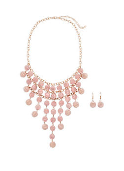 Faux Pearl Beaded Statement Necklace with Earrings - 1138074141040