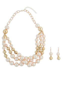 Layered Faux Pearl Beaded Necklace with Earrings - 1138074141078
