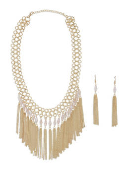 Metallic Beaded Chain Fringe Necklace with Drop Earrings - 1138074146142