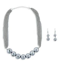Large Beaded Multi Layer Chain Necklace with Drop Earrings - 1138074146144