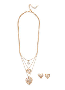Rhinestone Heart Pendant Necklace and Stud Earrings - 1138074148157