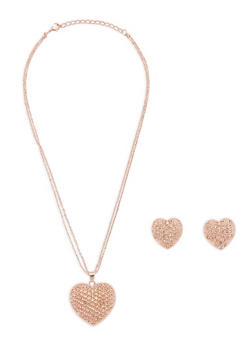 Rhinestone Heart Necklace with Matching Earrings - 1138074148313