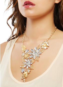 Metallic Rhinestone Flower Necklace with Earrings - 1138074171713