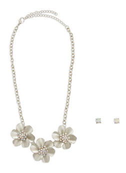 Rhinestone Flower Necklace with Stud Earrings - 1138074177755