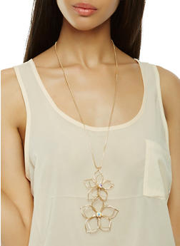 Wire Flower Necklace with Drop Earrings - 1138074179176