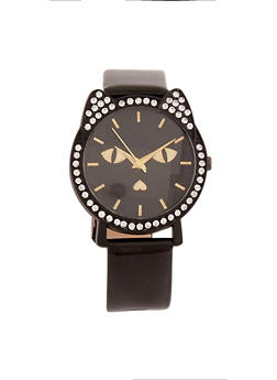 Rhinestone Cat Watch with Glitter Band - 1140071210013