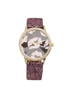 Foil Lips Watch with Rhinestone Bezel Detail - 1140071210034