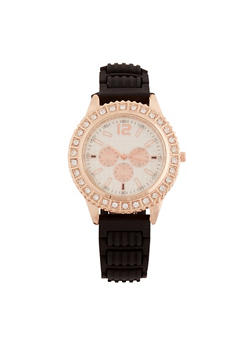 Faux Rose Gold Face Watch with Rhinestone Bezel - 1140071210277