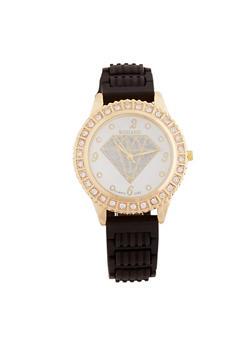 Glitter Diamond Face Watch with Rhinestone Bezel - 1140071210278