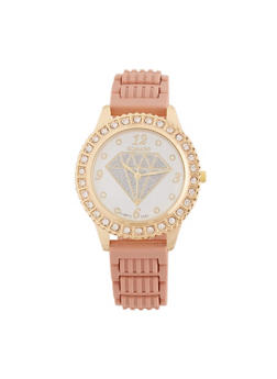 Glitter Diamond Face Watch with Rhinestone Bezel - 1140071210278