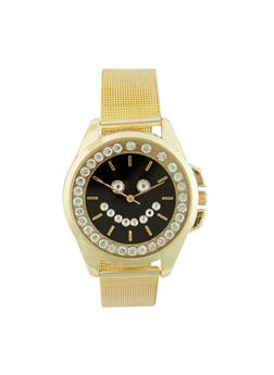Rhinestone Smiley Face Watch with Mesh Wristband - 1140071430001