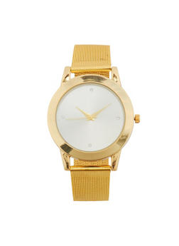 Metal Mesh Strap Watch - GOLD - 1140071430184