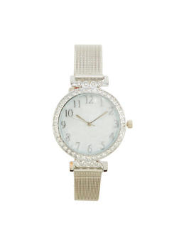Metallic Mesh Rhinestone Watch - 1140071430584