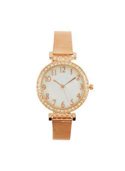 Metallic Mesh Rhinestone Watch - 1140071430584
