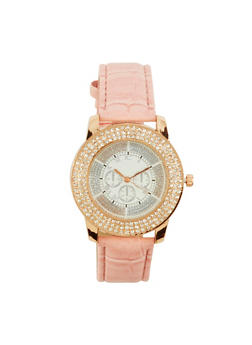 Rhinestone Watch with Faux Leather Strap - 1140071430713