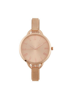 Oversized Face Skinny Metal Strap Watch - 1140071430861