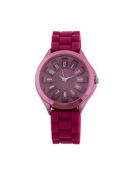 Rubber Strap Watch with 3D Face - PURPLE - 1140071430916