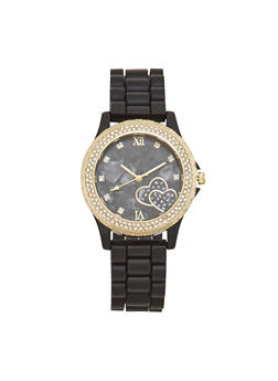 Rubber Watch with Rhinestone Bezel and Hearts - BLACK - 1140071430917