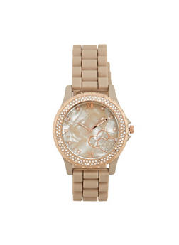 Rubber Watch with Rhinestone Bezel and Hearts - TAN - 1140071430917
