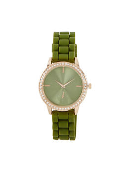 Rhinestone Rubber Strap Watch - 1140071430922