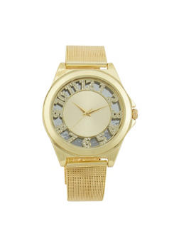 Rhinestone Numbers Watch with Mesh Wristband - 1140071431001