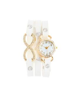 Faux Leather Wrap Bracelet Watch with Rhinestone Trim - WHITE - 1140071431013