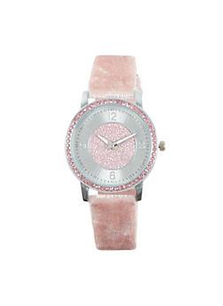 Rhinestone Velvet Strap Watch - 1140071431138