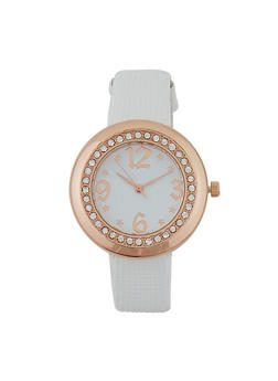 Textured Faux Leather Watch - WHITE - 1140071431231