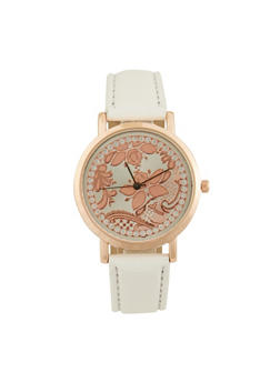 Rhinestone Floral Face Watch with Faux Leather Band - 1140071431302