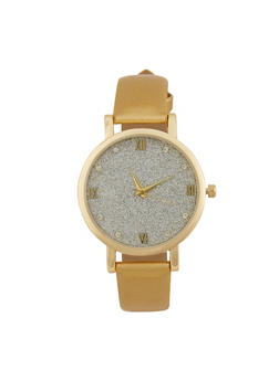 Glitter Face Watch with Faux Leather Strap - 1140071431304