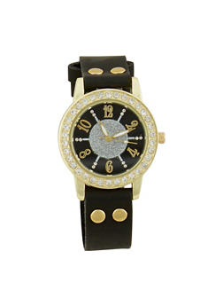 Glitter Rhinestone Watch with Faux Leather Strap - 1140071431305