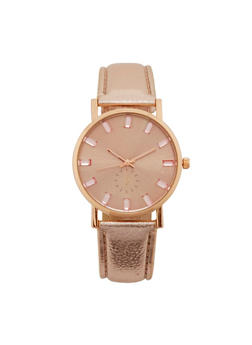 Faux Leather Strap Watch with Jewel Detail - 1140071431312