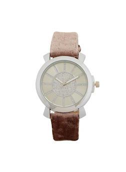Glitter Velvet Strap Watch - 1140071431314